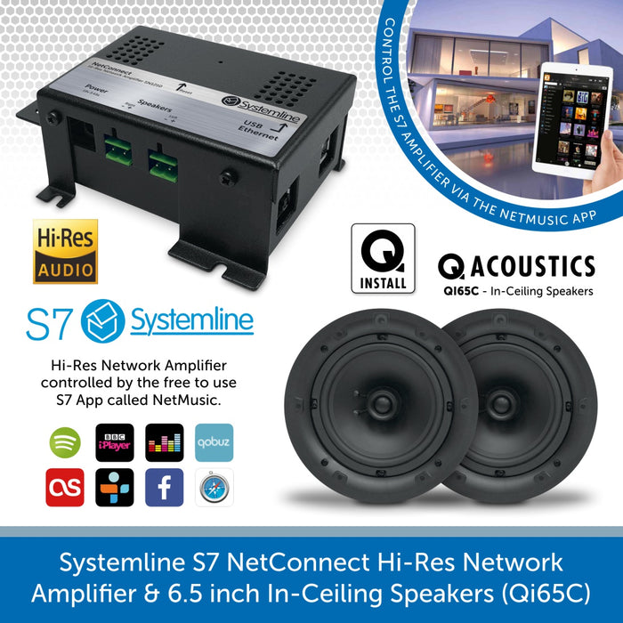 Systemline S7 NetConnect Hi-Res Network Amplifier & 6.5 inch In-Ceiling Speakers (Qi65C)
