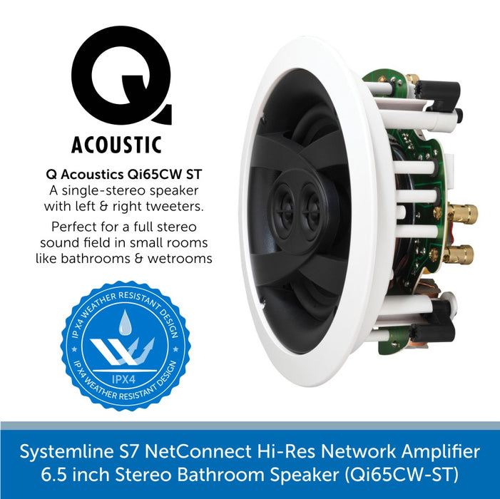 Systemline S7 NetConnect Hi-Res Network Amplifier with 6.5 inch Stereo Bathroom Speaker (Qi65CW-ST)