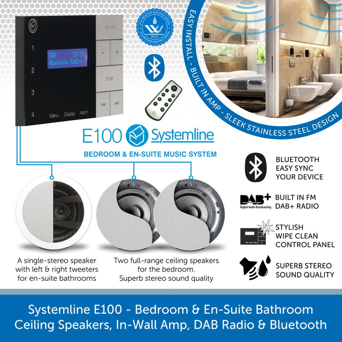 Systemline E100 - Bedroom & En-Suite Bathroom Ceiling Speakers, In-Wall Amp, DAB+ Radio & Bluetooth