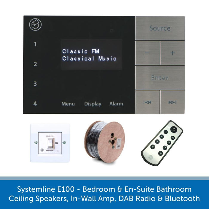 Systemline E100 - Bedroom & En-Suite Bathroom Ceiling Speakers, In-Wall Amp, DAB Radio & Bluetooth