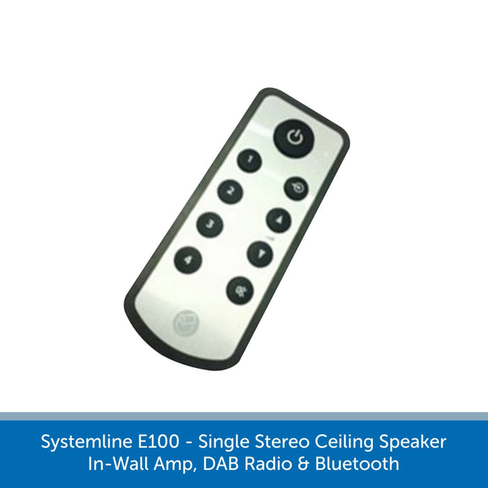 Systemline E100 - Wetroom Single Stereo Ceiling Speaker System, In-Wall Amp, DAB Radio & Bluetooth
