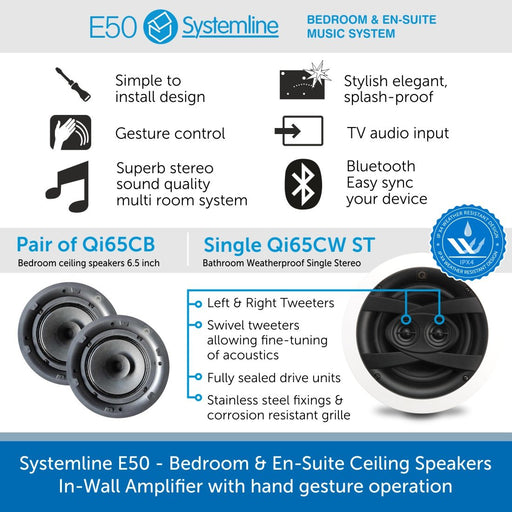 Systemline E50 - Bedroom & En-Suite Ceiling Speakers, In-Wall Amplifier & hand gesture operation