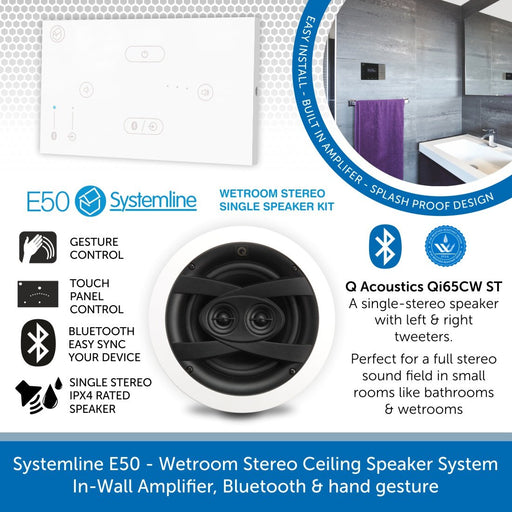 Systemline E50 - Wetroom Single Stereo Ceiling Speaker System, In-Wall Amplifier, Bluetooth & hand gesture