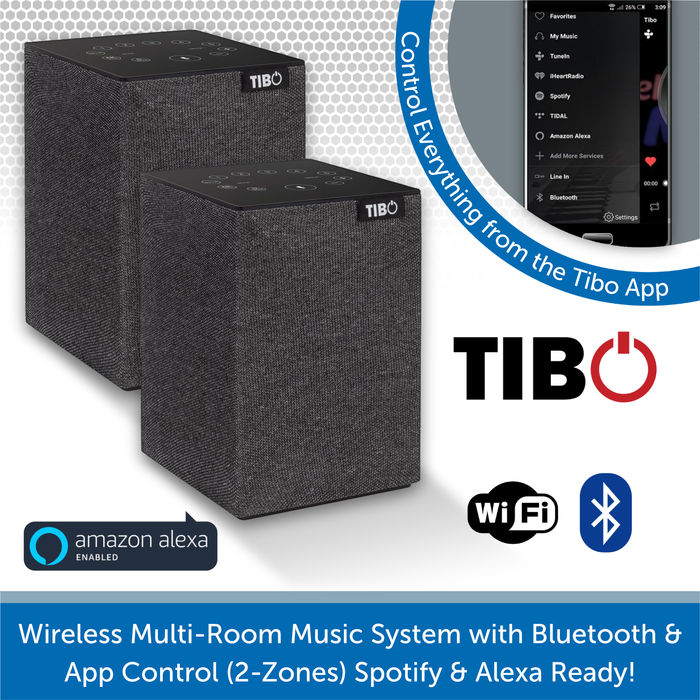 Wireless Multi-Room Music System with Bluetooth & App Control (2-Zones) Spotify & Alexa Ready!
