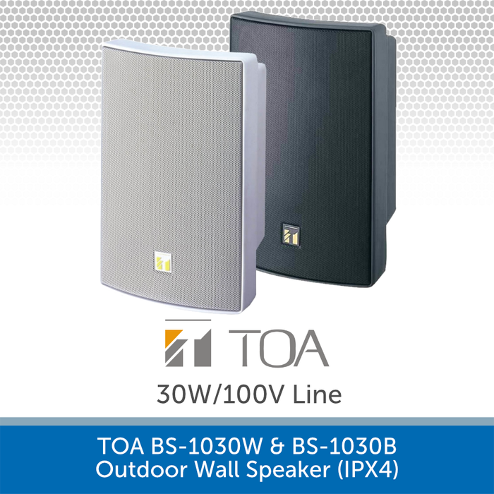 TOA BS-1030W & BS-1030B High-performance Outdoor Wall Speaker