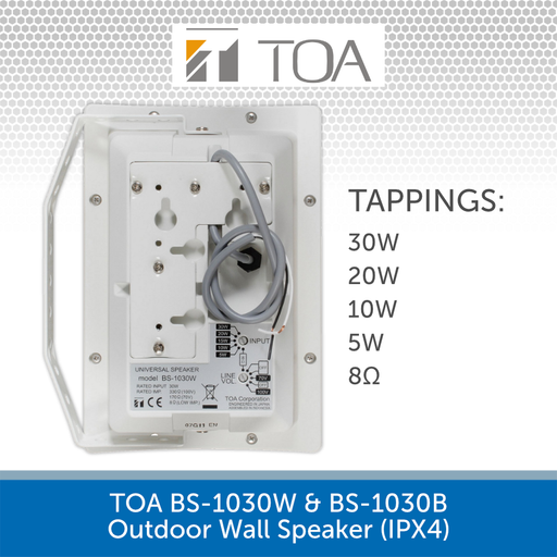 TOA BS-1030W & BS-1030B High-performance Outdoor Wall Speaker REAR & TAPPINGS