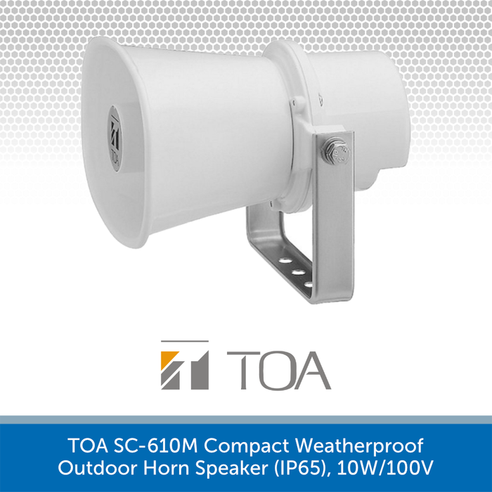 TOA SC-610M Compact Weatherproof Outdoor Horn Speaker (IP65), 10W/100V