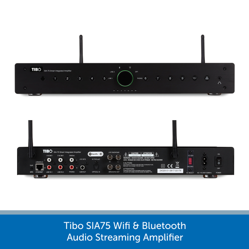 Showing the back of a Tibo SIA75 Wifi & Bluetooth Audio Streaming Amplifier