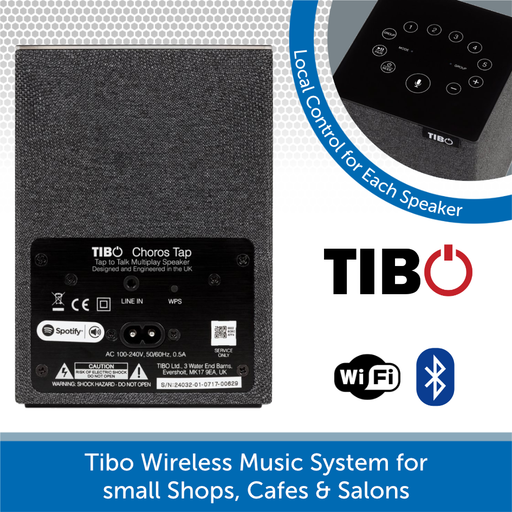 Tibo Wireless Music System for small Salons, Cafes & Shops Rear and Control