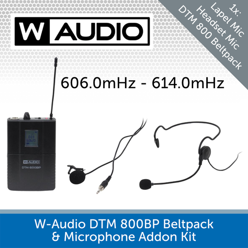 W-Audio DTM 600BP Beltpack & Microphone Addon Kit (606.0mHz-614.0mHz)