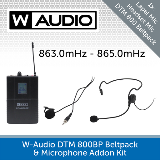W-Audio DTM 800BP Beltpack & Microphone Addon Kit (863.0mHz-865.0mHz)