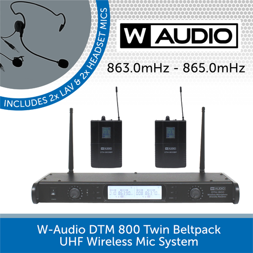 W-Audio DTM 800 Twin Beltpack UHF Wireless Mic System (863.0mHz-865.0mHz)