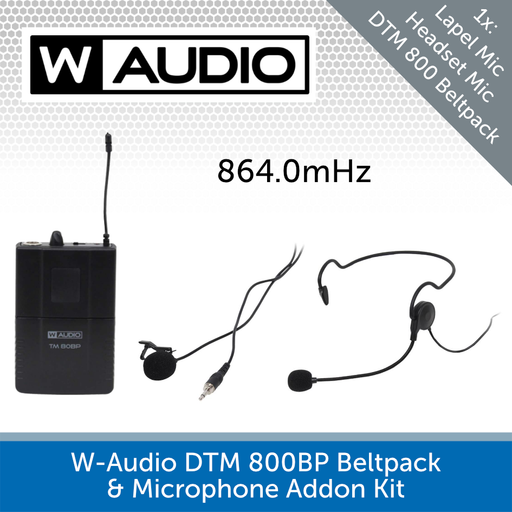 W-Audio TM 80BP Beltpack & Microphone Addon Kit (864.0mHz)