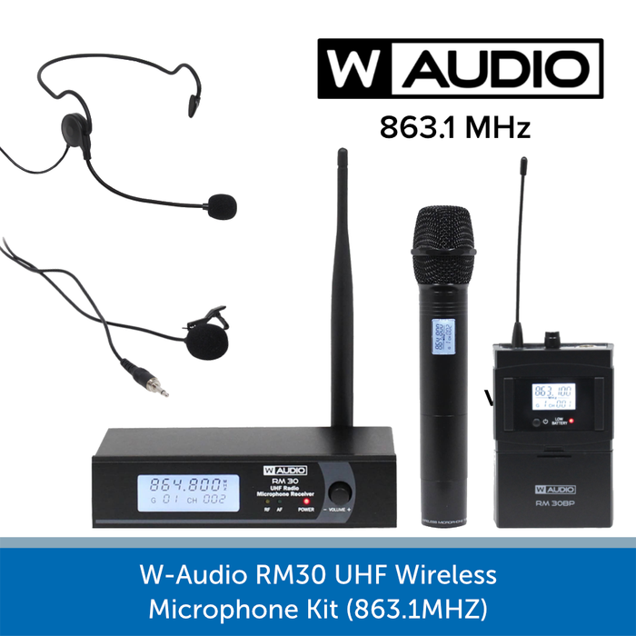 W-AUDIO RM30 UHF WIRELESS MICROPHONE KIT (863.1MHZ)