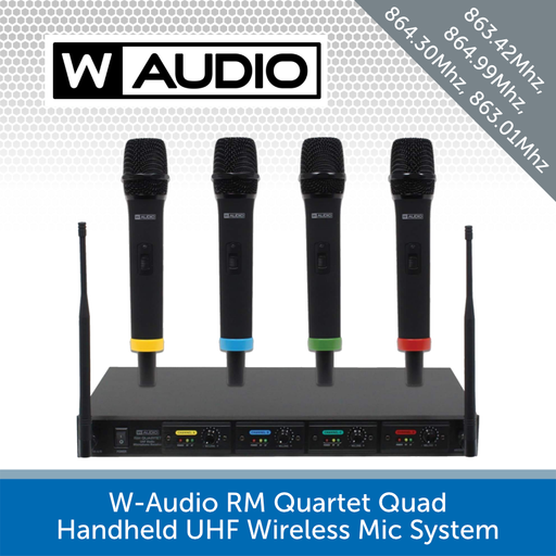 W-Audio RM Quartet Quad Handheld UHF Wireless Mic System - Perfect for Conferences