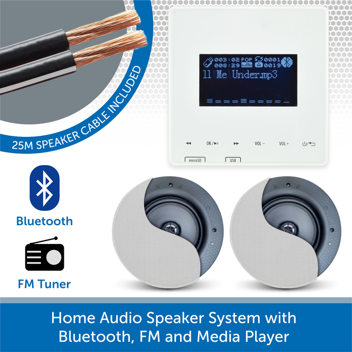 Home Audio Speaker System with Bluetooth, FM and Media Player 2 speakers