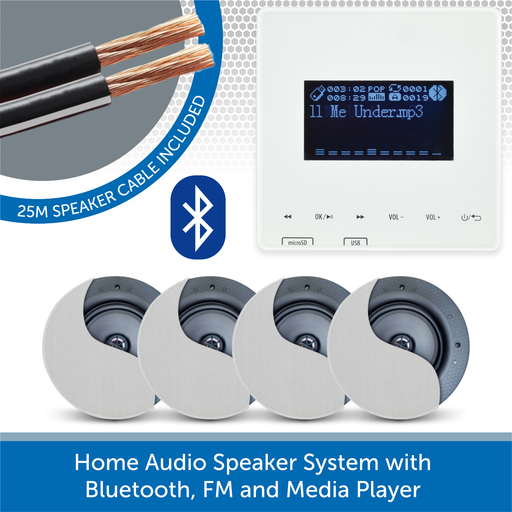 Home Audio Speaker System with Bluetooth, FM and Media Player 4 speakers