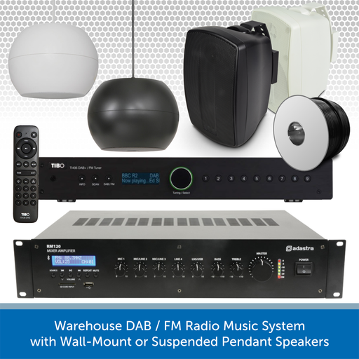 Warehouse DAB / FM Radio Music System with Wall-Mount or Suspended Pendant Speakers