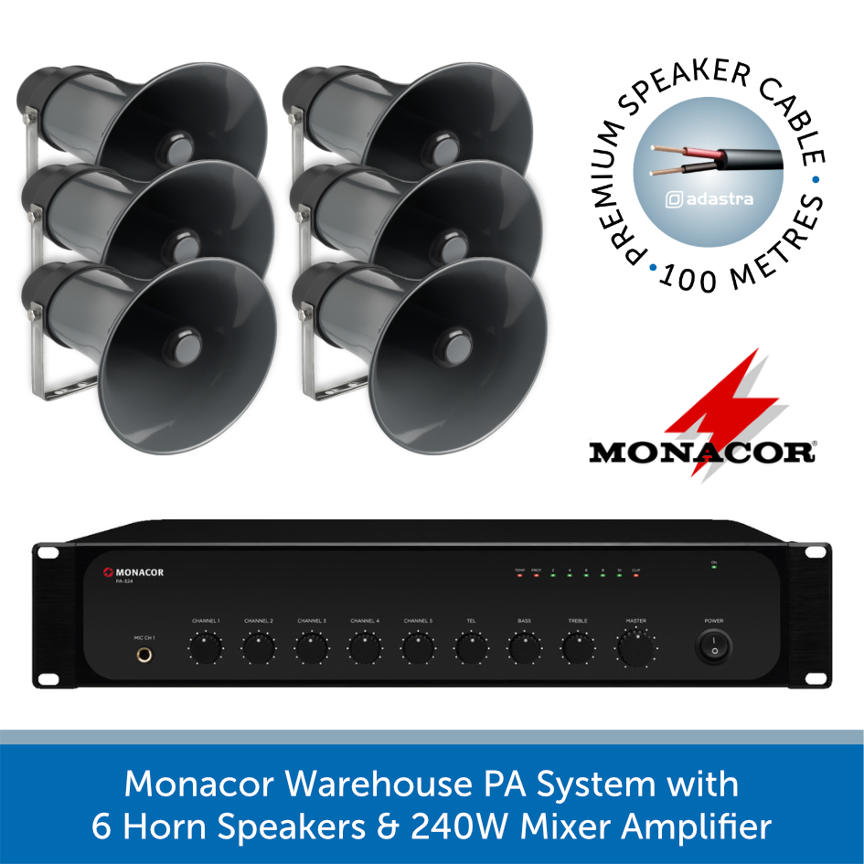 Ambient Mixer warehouse pa system with 6 horn speakers & 240w mixer amplifier