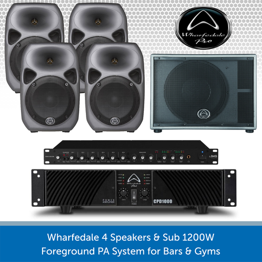 Wharfedale 4 Speakers & Sub 1200W Foreground PA System for Bars & Gyms