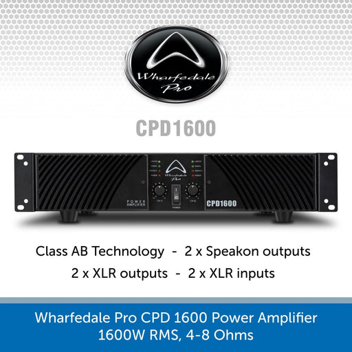 Wharfedale Pro CPD 1600 Power Amplifier, 1600W RMS, 4-8 Ohms