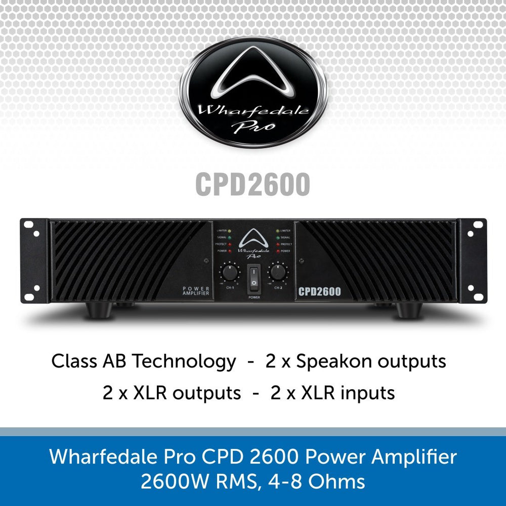 Wharfedale Pro CPD 2600 Power Amplifier, 2600W RMS, 4-8 Ohms
