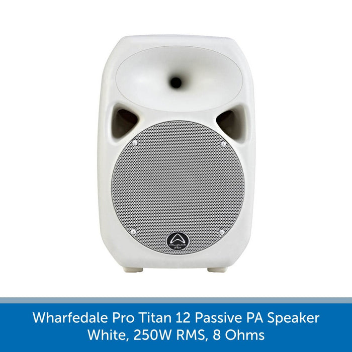 Front of a Wharfedale Pro Titan 12 Passive PA Speaker, White, 250W RMS, 8 Ohms