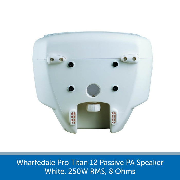 Showing the bottom of a Wharfedale Pro Titan 12 Passive PA Speaker, White, 250W RMS, 8 Ohms