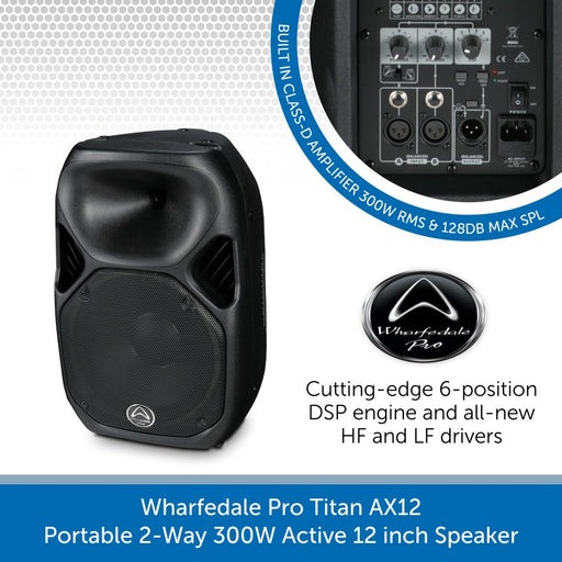 Wharfedale Pro Titan AX12 - Portable 2-Way 300W Active 12 inch PA Speaker