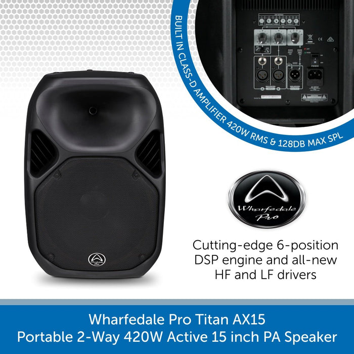 Wharfedale Pro Titan AX15 - Portable 2-Way 420W Active 15 inch PA Speaker