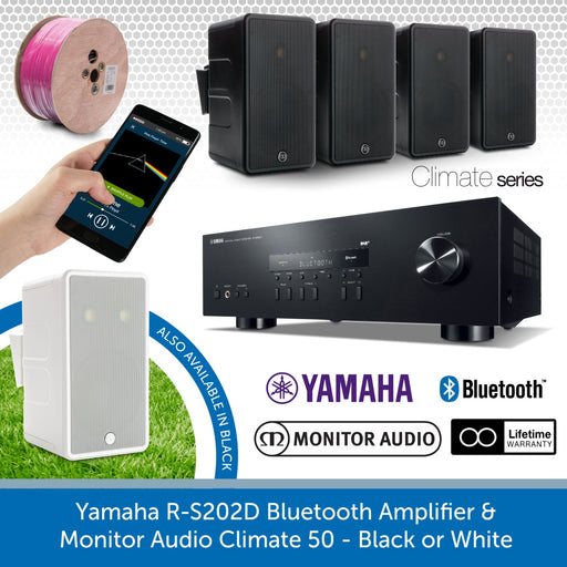 Yamaha R-S202D Bluetooth Amplifier & Monitor Audio, Climate 50 - Outdoor Speakers