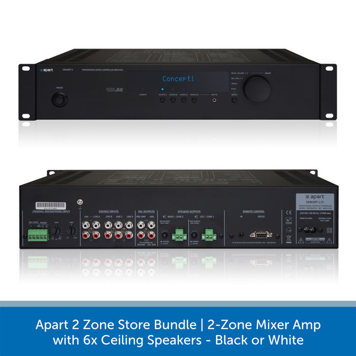 Apart 2 Zone Store Bundle | 2-Zone Mixer Amp with 6x Ceiling Speakers Conecpt 1T Amplifier