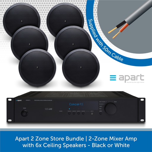 Apart 2 Zone Store Bundle 2-Zone Mixer Amp with 6x Ceiling Speakers BLACK