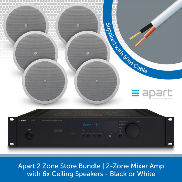 Apart 2 Zone Store Bundle | 2-Zone Mixer Amp with 6x Ceiling Speakers WHITE