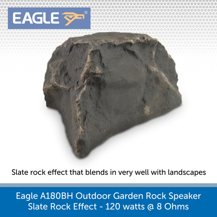 gle A180BH Outdoor Garden Rock Speaker, Slate Rock Effect