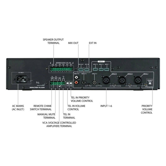 Inter-M PA480 480W 100V Mixer Amplifier with 5-Zone Selection
