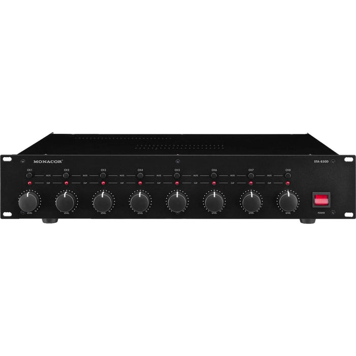 Monacor STA-850D 8-Channel 400W Power Amplifier perfect for multi-zone PA applications