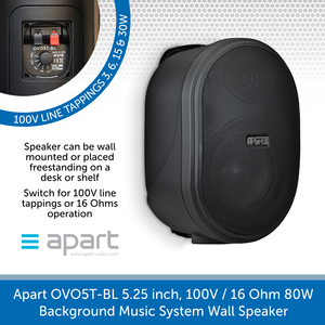 Apart Audio OVO5T-BL 5.25 inch, 100V / 16 Ohm 80W, Background Music System Wall Speaker