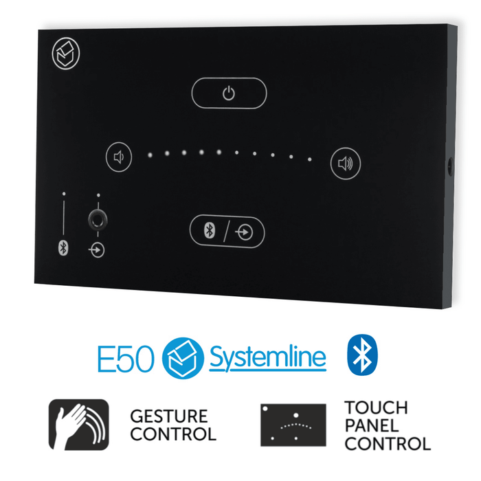Systemline E50 - Bluetooth In-Wall Amplifier Touch Panel with Gesture Control (Black or White)