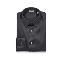Black Luxury Silk Satin Stretch Shirt