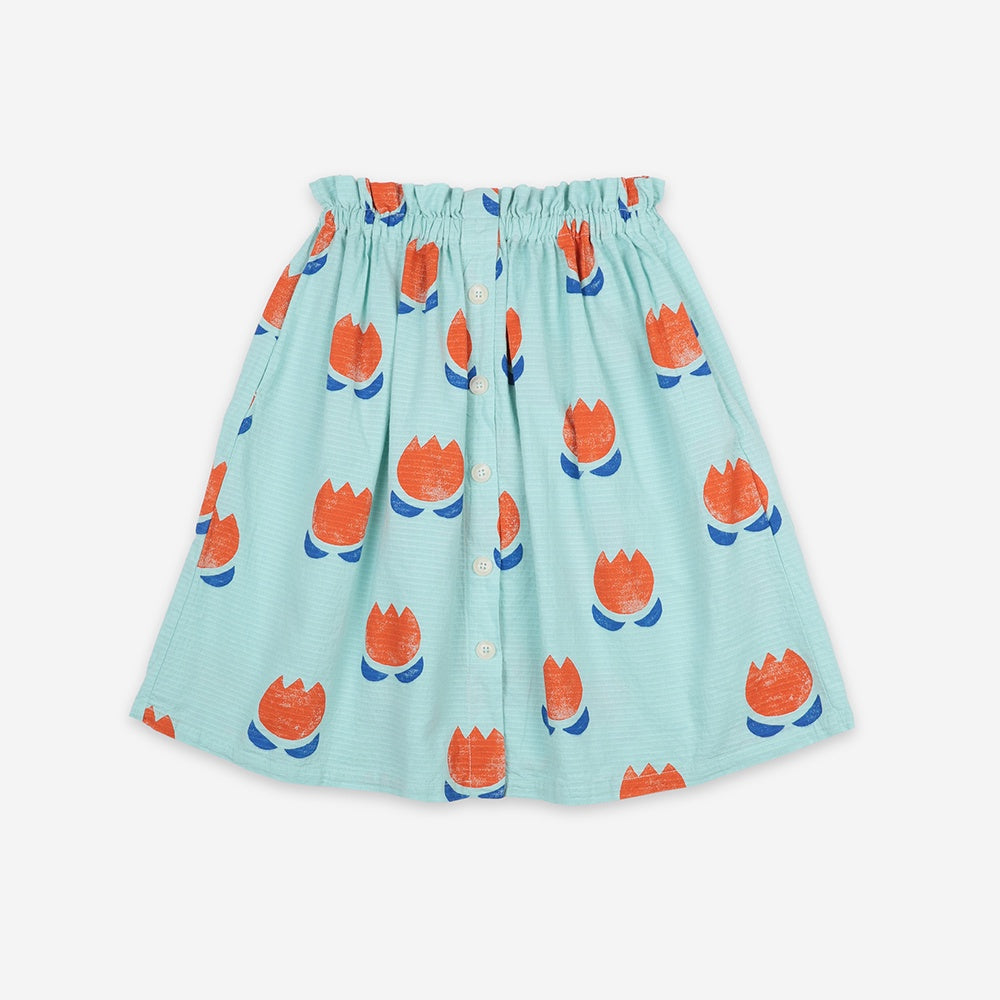 Chocolate Flowers Buttoned Midi Skirt by Bobo Choses