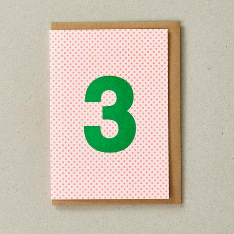 Number 3 Birthday Card