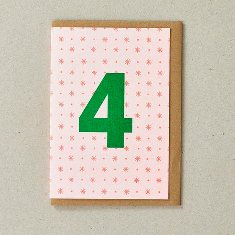 Number 4 Birthday Card