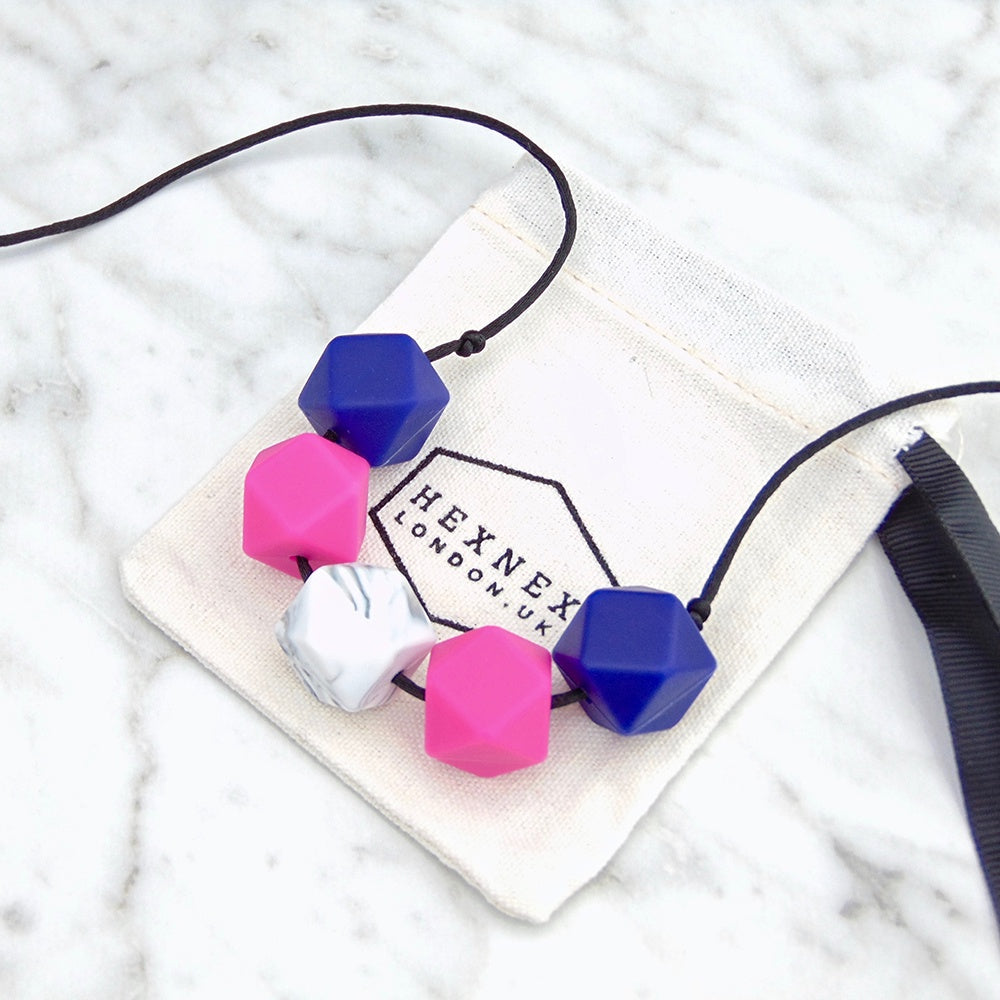 Loulou Fuscia Teething Necklace, Hexnex- Trapeze Kids