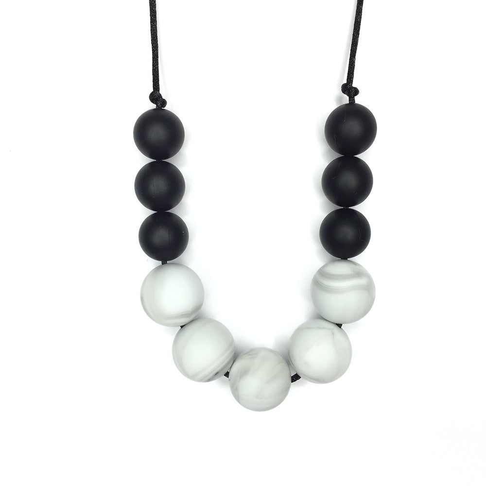 Black Marble Teething Necklace, boochew- Trapeze Kids