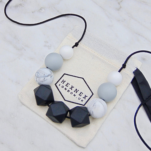 Cecelia Marble Teething Necklace, Hexnex- Trapeze Kids