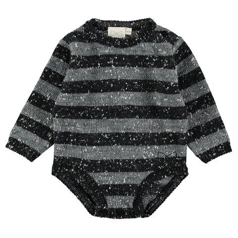 Grey Stripe Knit Body Suit, Mini Sibling- Trapeze Kids