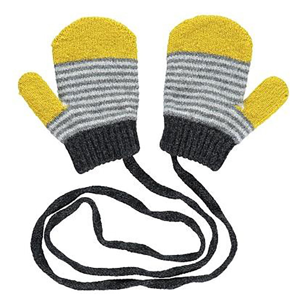 String Stripe Mittens Yellow Grey