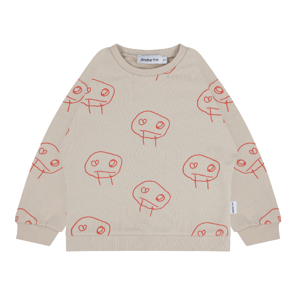 Unisex Kids Face Doodle Print Cotton Sweatshirt by Another Fox front