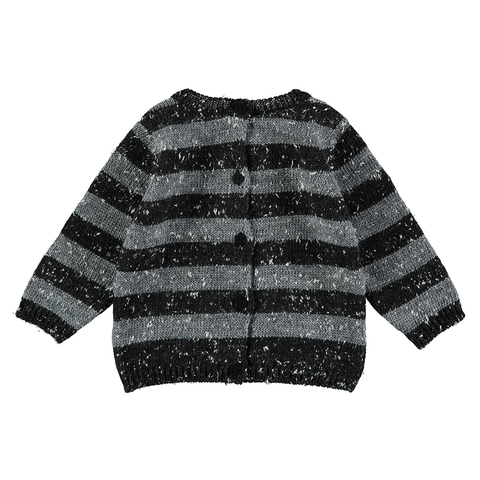 Grey Stripe Knit Reversible Sweater, Mini Sibling- Trapeze Kids